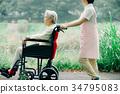 護理圖像輪椅步行照顧者 34795083