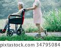 護理圖像輪椅步行照顧者 34795084