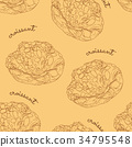 almond croissant hand draw seamless pattern vector 34795548