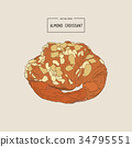 almond croissant hand draw vector 34795551