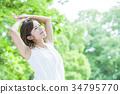 秀丽女性秀丽护肤画象新绿色 34795770