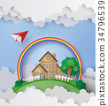 plane fly over the house  34796539