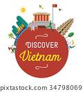 Flat design, Vietnam icons and landmarks 34798069