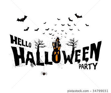 Happy Halloween Typography, Scary, Horror,Vector  34799031