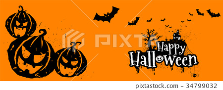 Happy Halloween Typography, Scary, Horror,Vector  34799032