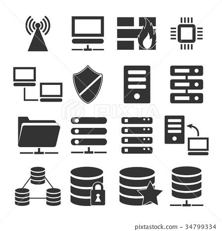vector of server icon set - Stock Illustration [34799334