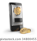 BItcoin coin and mobile phone  isolated on white 34800455