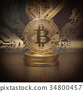 Bitcoin cryptocurrency golden coin background. 34800457
