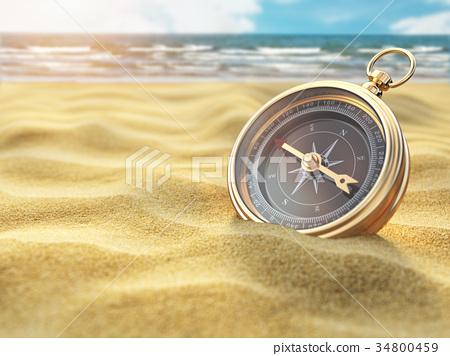 Compass on sea sand. Travel destination  34800459