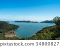Seto Inland Sea, oyster fishing, blue sky 34800827