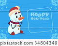 Cute Snowman On Happy New Year Greeting Card 34804349