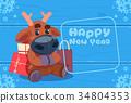Cute Deer On Happy New Year Greeting Card 34804353