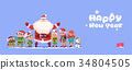 Santa Claus With Elfs On Happy New Year Greeting 34804505