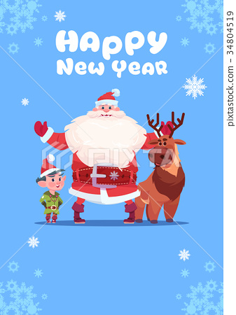 Santa Claus With Elfs On Happy New Year Greeting 34804519
