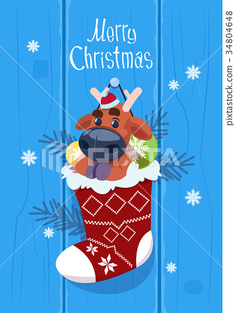 Merry Christmas And Happy New Year Greeting Card 34804648