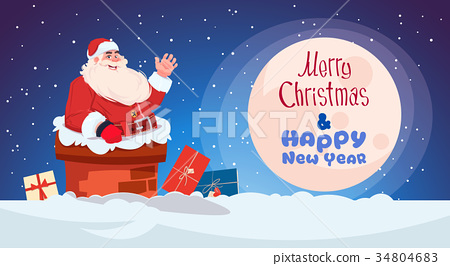 Merry Christmas And Happy New Year Greeting Card 34804683