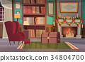 Empty Armchair Near Decorated Fireplace , Home 34804700