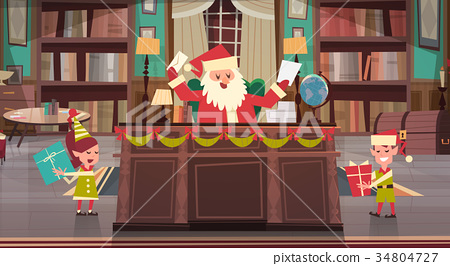 Santa Claus Working With Elfs In Office Room 34804727
