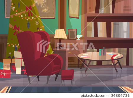 Empty Armchair Near Decorated Pine Tree , Home 34804731