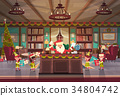 Santa Claus Working With Elfs In Office Room 34804742