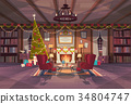 Living Room Decorated For Christmas And New Year 34804747