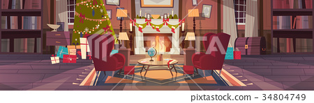 Living Room Decorated For Christmas And New Year 34804749