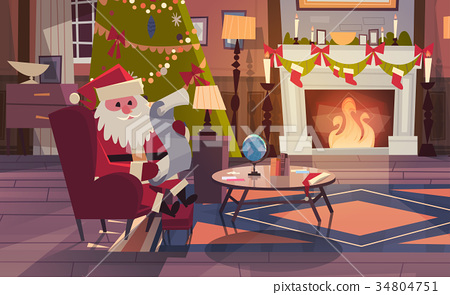 Santa Claus Read Wish List Sitting Near Fireplace 34804751