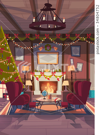 Living Room Decorated For Christmas And New Year 34804752