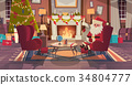 Santa Claus In Living Room Decorated For Christmas 34804777