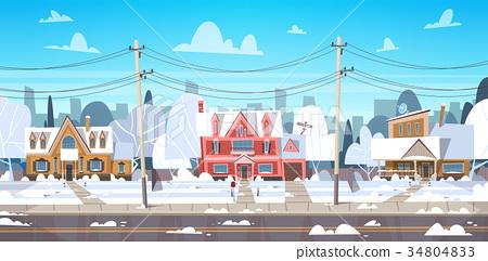 Village Winter Landscape House Buildings With Snow 34804833