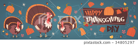 Happy Thanksgiving Day Autumn Traditional Harvest 34805297