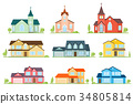 Set of flat icon suburban american houses and 34805814