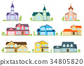 Set of flat icon suburban american houses and 34805820