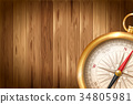 Vintage compass on wooden background 34805981