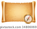 Vintage compass and antique scroll 34806069
