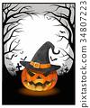 Jack on the dark grave illustration for halloween 34807223