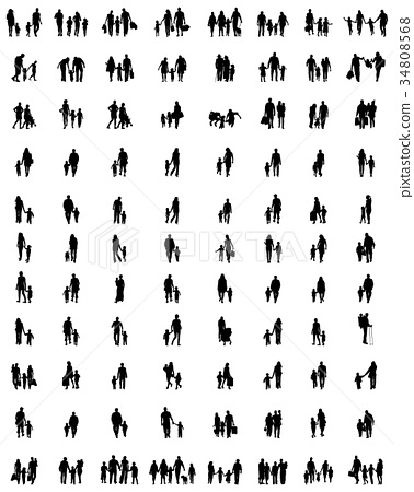 silhouettes of families 34808568