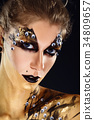 Mystic hero, golden girl. Fantasy makeup. 34809657