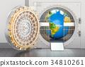 Earth Globe inside bank vault 34810261