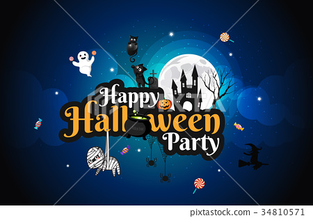 Halloween character and lettering element design 34810571
