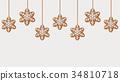 Hanging gingerbread snowflakes cookies 34810718