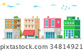 Flat design facades urban illustration vector 34814921