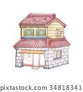 手繪 色鉛筆 住宅 34818341