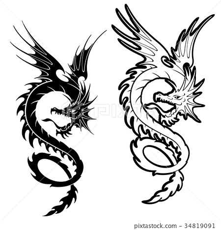 dragon dragons flying stock illustration 34819091 pixta