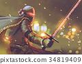 astro-knight in futuristic armor holding sword 34819409