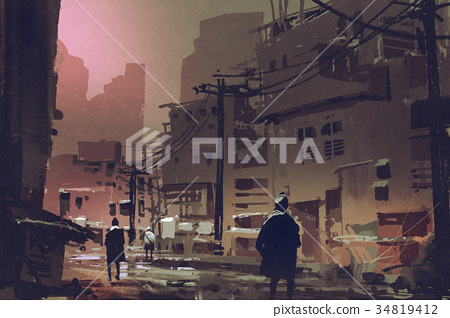 dirty street in abandoned city at sunset 34819412
