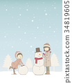 在雪地裡玩 孩子 小孩 34819605