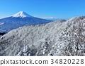 ภูเขาไฟฟูจิและทิวทัศน์หิมะ 34820228
