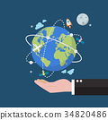 Businessman holding earth globe on space 34820486