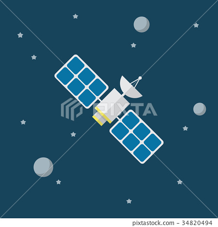 Satellite vector icon in flat style 34820494